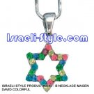 9645 - NECKLACE MAGEN DAVID COLORFUL, JUDAICA GIFT FROM ISRAEL