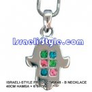 9648 - NECKLACE 40CM HAMSA + 6 STONE, JUDAICA GIFT FROM ISRAEL