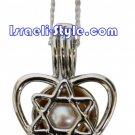 83486 - PEARL PENDANT MAGEN DAVID ON HEART, JUDAICA GIFT FROM ISRAEL