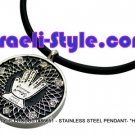"86651 - STAINLESS STEEL PENDANT- ""HAMSA"" IN CIRCLE, JUDAICA GIFT FROM ISRAEL"