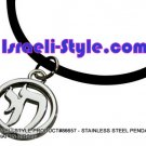 "86657 - STAINLESS STEEL PENDANT- ""CHAI"" IN CIRCLE, JUDAICA GIFT FROM ISRAEL"