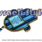 FREE SHIPPING! 73948 - PEWTER HAMSA, ENGLISH HOME BLESSING 12CM- BLUE COLORS