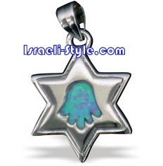 FREE SHIPPING!! 90018-OPAL STONE GOLD FILLED MAGEN DAVID /star of david,hebrew jewelry judaica