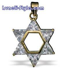 FREE SHIPPING!! 90020-STONES+GOLD FILLED MAGEN DAVID /star of david,hebrew jewelry judaica CHAI