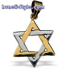 FREE SHIPPING!! 90024-TTONE+GOLD FILLED MAGEN DAVID /star of david,hebrew jewelry judaica CHAI