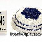 free shipping!!LOT OF 5PCS 12448 -KIPPAH 17CM ROUND BLUE + SILVER YARMULKE/KIPPAH