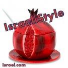 "87131-2 ROSH HASHANA GIFTS-CERAMIC HONEY DISH ""POMEGRANATE"" 11CM from israel- ROSH HASHANA jewish"