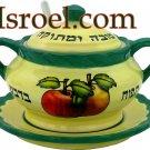 84942 - CERAMIC GREEN HONEY DISH 9CM SPECIAL FOR ROSH HASHANA F/ISRAEL