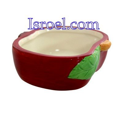 "87204 - CERAMIC HONEY DISH ""APPLE"" 9*10 CM ROSH HASHANA GIFT"