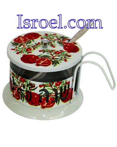 "87355 - STAINLESS STEEL COLORFUL HONEY DISH, LAZER CUT- ""SHANA TOVA"" ROSH HASHANA GIFT"