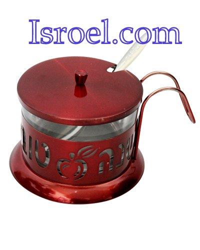 """87364 - STAINLESS STEEL RED HONEY DISH, LAZER CUT- APPLE- """"SHANA TOVA"""" ROSH HASHANA GIFT"""