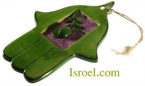 09923 - CERAMIC COLORFUL HAMSA 16*10 CM- OLIVE CHAMSA GIFT FROM ISROEL.COM
