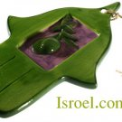 09923 - CERAMIC COLORFUL HAMSA 16*10 CM- OLIVE CHAMSA GIFT FROM ISROEL.COM