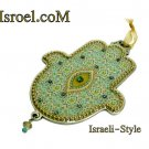 73955 - PEWTER HAMSA 12 CM, HAND DECORATED- GIFT BY ISROEL.COM