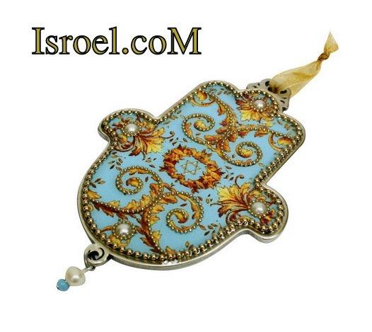 73957 - PEWTER HAMSA 12 CM, HAND DECORATED- MAGEN DAVID-CHAMSA GIFT BY ISROEL.COM