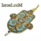 73957 - PEWTER HAMSA 12 CM, HAND DECORATED- MAGEN DAVID-CHAMSA GIFT BY ISROEL.COM