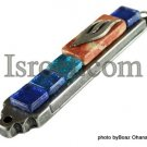 70564 - PEWTER MEZUZAH 10CM METALIC BLUE STONES, ISRAEL JUDAICA MEZUZA FOR PROTECTION BY ISROEL.COM