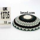 12735 -BUY KIPPAH 16CM, BROWN L. BLUE yarmulka kippahs for sale,klipped kippahs, kippah designs