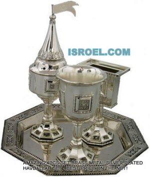 41125 - HAVDALAH SET 4 PCS ,HAVDALA,HAVDOLA GIFT FROM ISRAEL