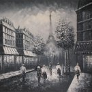 P2598 Paris Eiffel tower black and white oil painting on canvas city scene