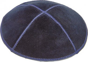 118 pcs UK00194 - C SUEDE BLUE KIPPAH 16 CM with printing for wedding