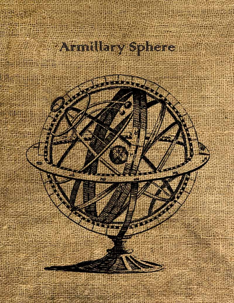 Vintage, Altered, Iron On, Ephemera, ARMILLARY SPHERE Digital Image  No.2