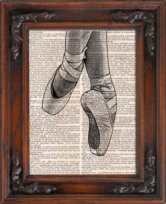 Art Print, Vintage, BALLET SHOES, POINTE Shoes, Dictionary Page Print 0134