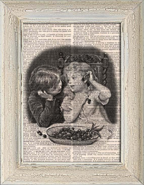 Art Print, VINTAGE KIDS, Vintage, Dictionary Page Print 0127
