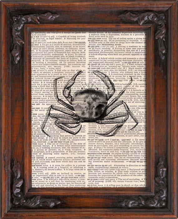 Art Print, CRAB, Vintage, Dictionary Page Print 0120