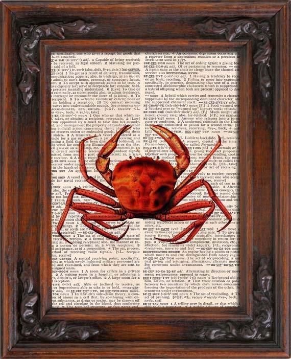 Art Print, Vintage, Crab, Dictionary Page Print 0119