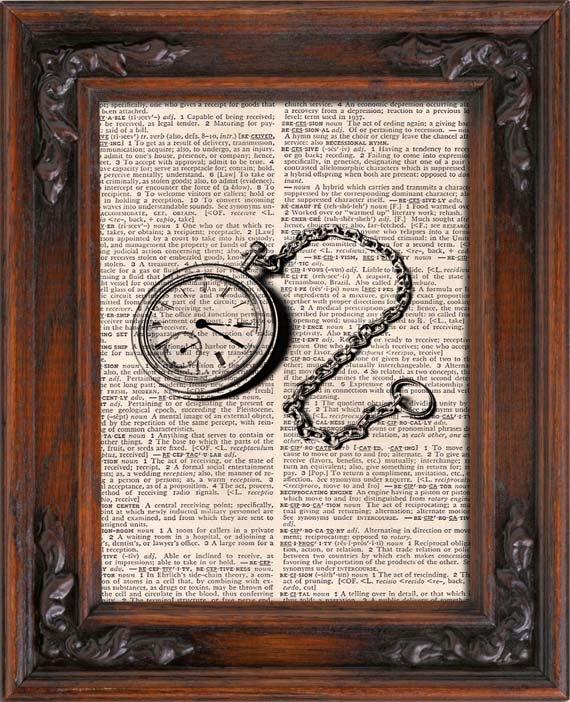 Art Print, Vintage Pocket Watch Dictionary Page Print 0021