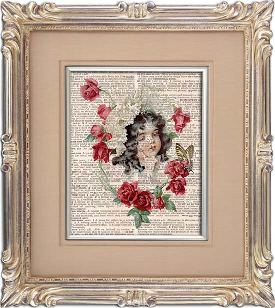 Art Print, VINTAGE GIRL, Vintage, Dictionary Page Print 0113