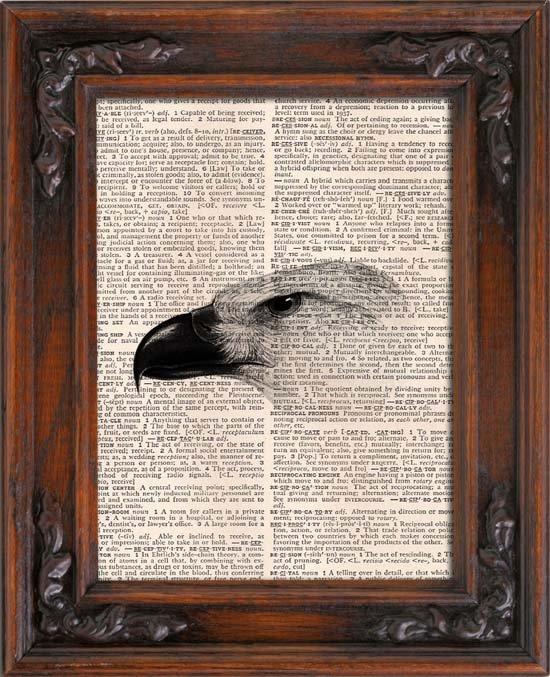 Art Print, Vintage, BIRD HEAD, Dictionary Page Print 0100