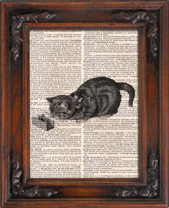 Art Print, Vintage, CAT, Dictionary Page Print 0088