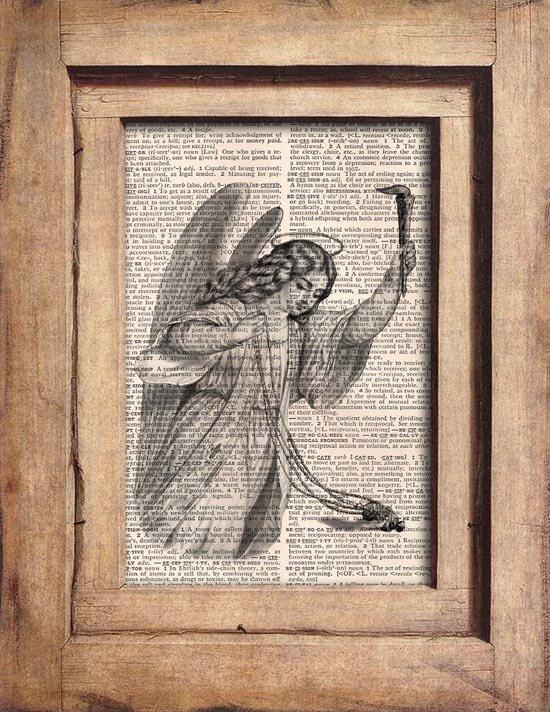 Art Print, Vintage, ANGEL, Dictionary Page Print 0087