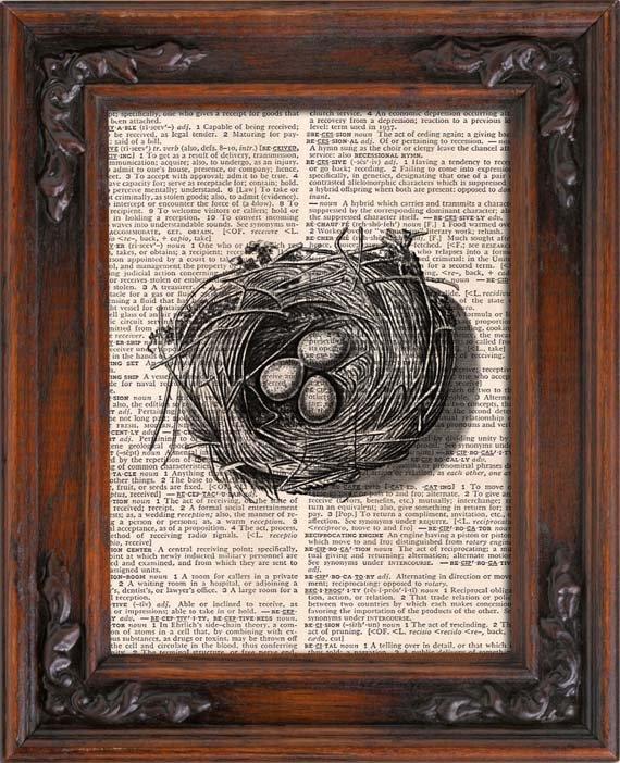 Art Print, Vintage, Bird NEST, Dictionary Page Print 0082