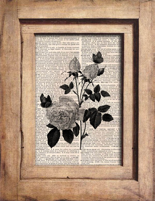 Vintage Roses Dictionary Page Print 0067