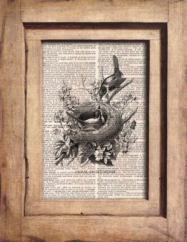 Vintage Bird Nest, Bird, Eggs, Dictionary Page Print 0056
