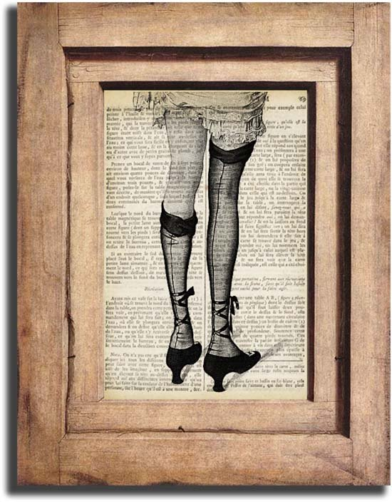 Vintage Woman Legs Dictionary Page Print 0045