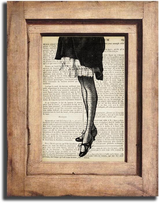 Vintage Woman Legs Dictionary Page Print 0043