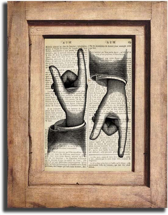 Vintage POINTING HANDS Dictionary Page Print 0037