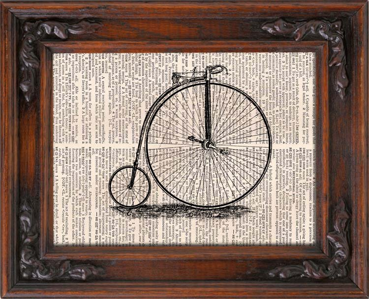 Art Print, Vintage BICYCLE, Dictionary Page Print 0035