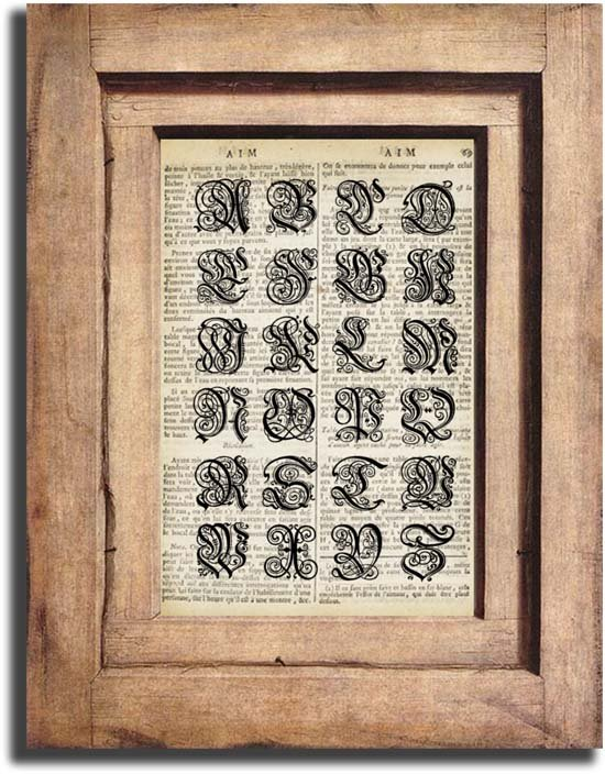 Vintage ALPHABET on Dictionary Page Print 0033