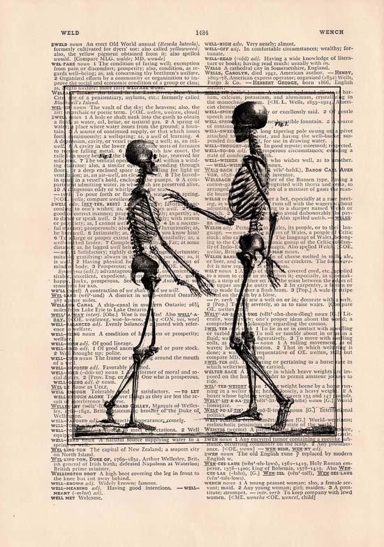Art Print, Anatomical, Vintage, SKELETONS Dictionary Page Print 0024