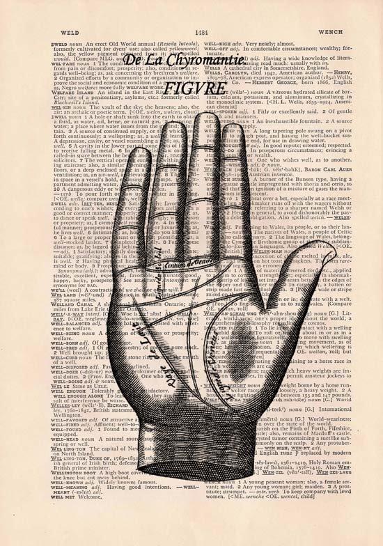 Art Print, Vintage DE LA CHYROMANTIE Dictionary Page Print 0016
