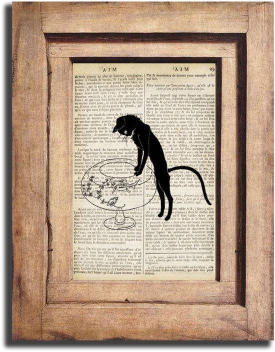Art Print, Vintage CAT Dictionary Page Print 0015