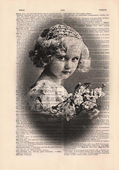 Art Print, Vintage VINTAGE GIRL PORTRAIT Dictionary Page Print 0012