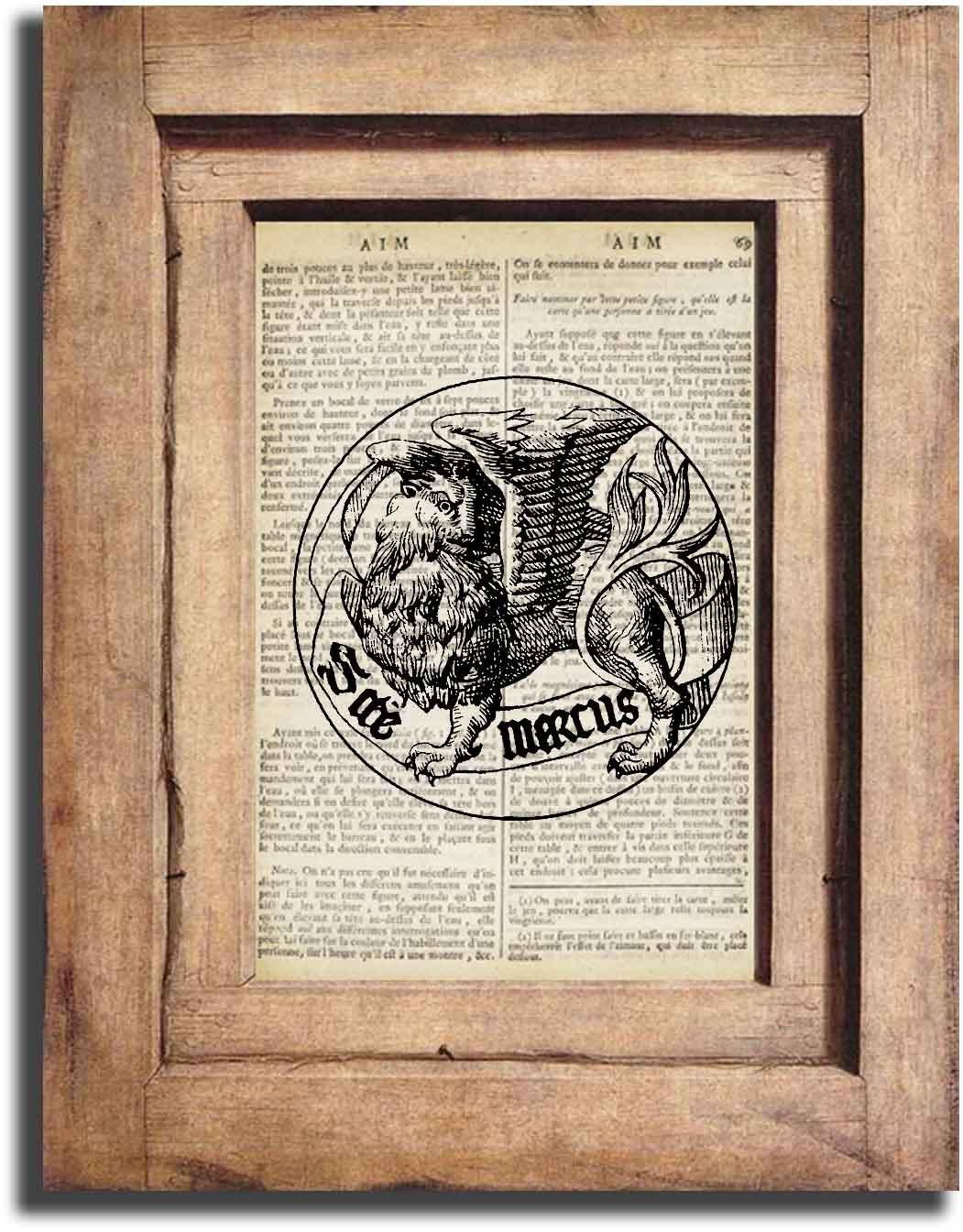 Art Print Vintage ORNAMENTAL Dictionary Page Print 0008