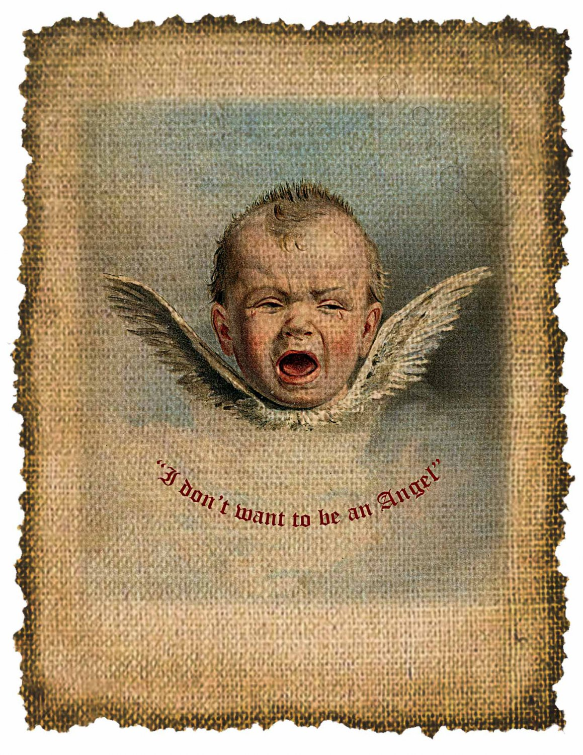 Vintage, Baby, I Dont Want to be an Angel, Altered, Printable, Iron On, Digital Image No. 330