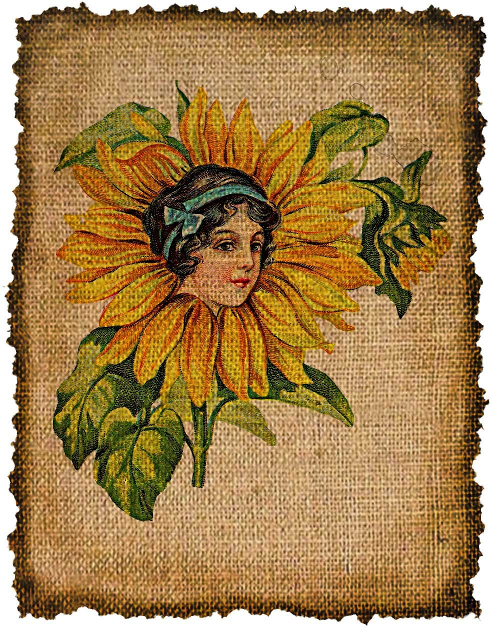 Vintage, Flower Fairy, Ephemera, Altered, Iron on, Digital Image No.417